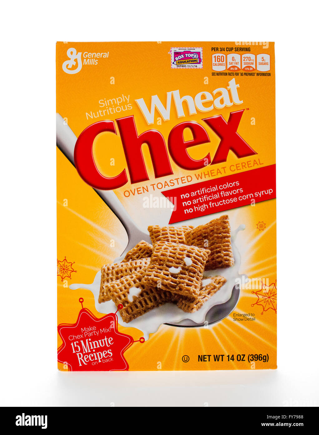 Winneconne, WI - 7 February 2015: Box of Chex Wheat cereal a product of General Mills - Stock Image