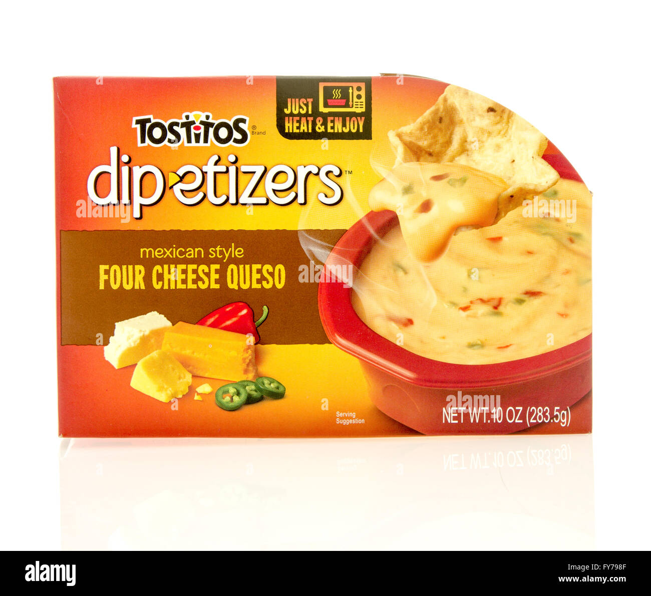 Winneconne, WI - 23 Dec 2015: Package of Totitos dipetizers mexican style in four cheese queso flavor. Stock Photo