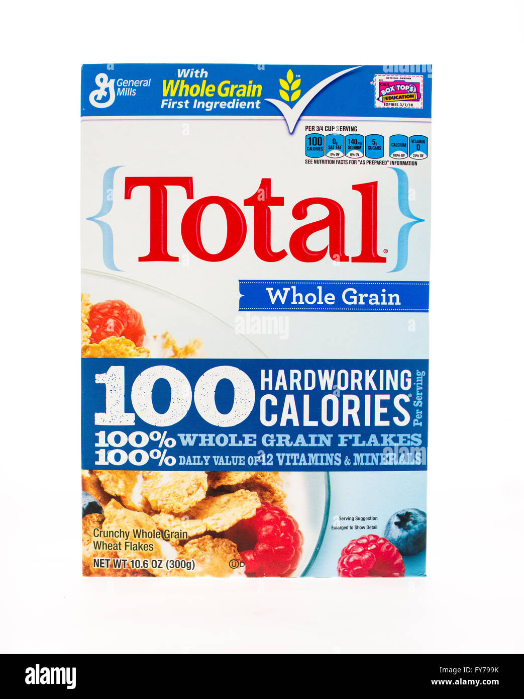 Winneconne, WI - 20 April 2015:  Box of Total cereal a product of General Mills - Stock Image