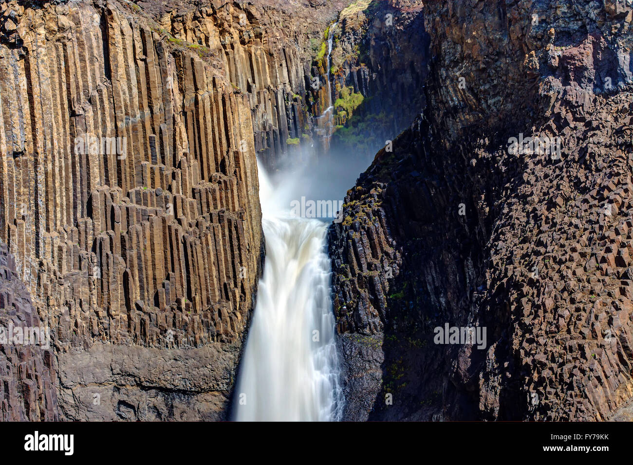 The Litlanesfoss waterfall in Iceland with its basaltic columns - Stock Image