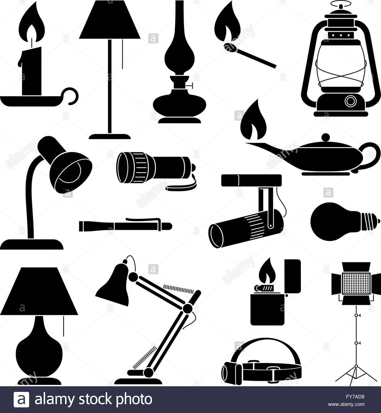 Lamp Silhouettes. Set of Lamp Silhouettes - Stock Image