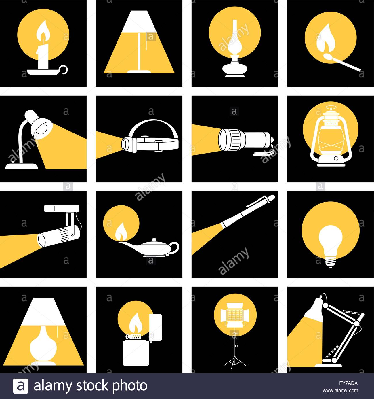 Lamp Lights In The Dark. Set of Lamps with their Lights - Stock Vector