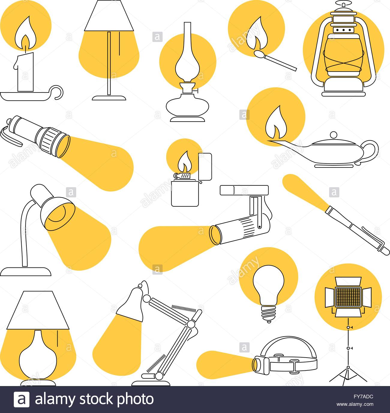 Lamp Lights. Line Drawing of a Set of Lamp and Lighting Equipments. - Stock Image