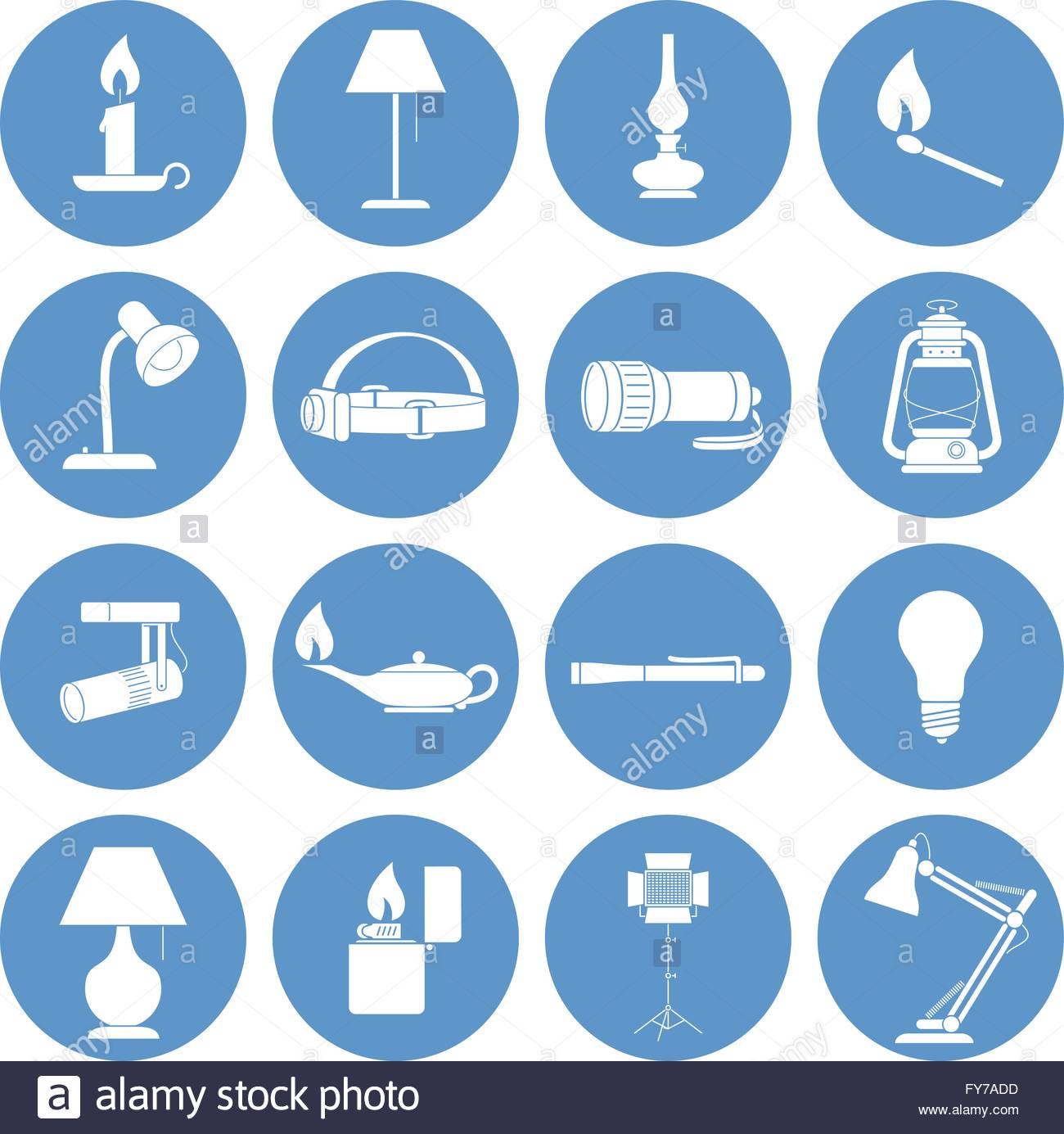 Lamp Icons Set. Vector illustration of a Set of Lamp Icons. - Stock Image