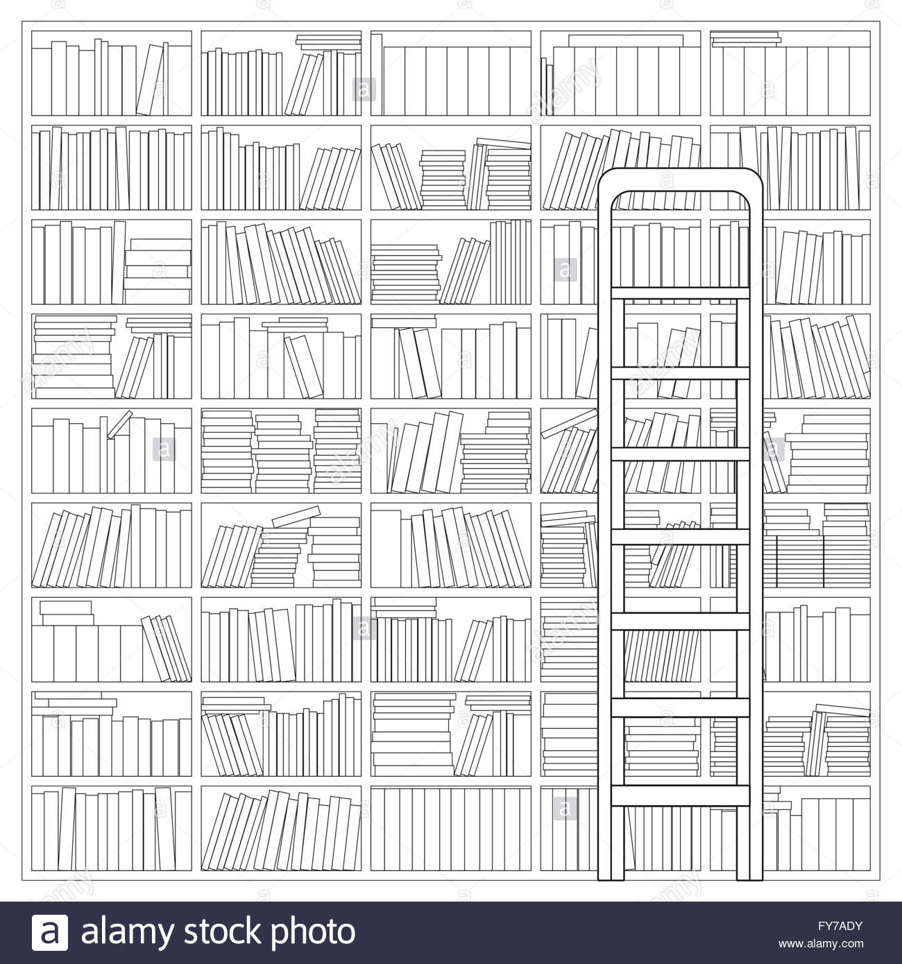 Bookshelf with Ladder. Outline Drawing of a Bookshelf with Ladder - Stock Image