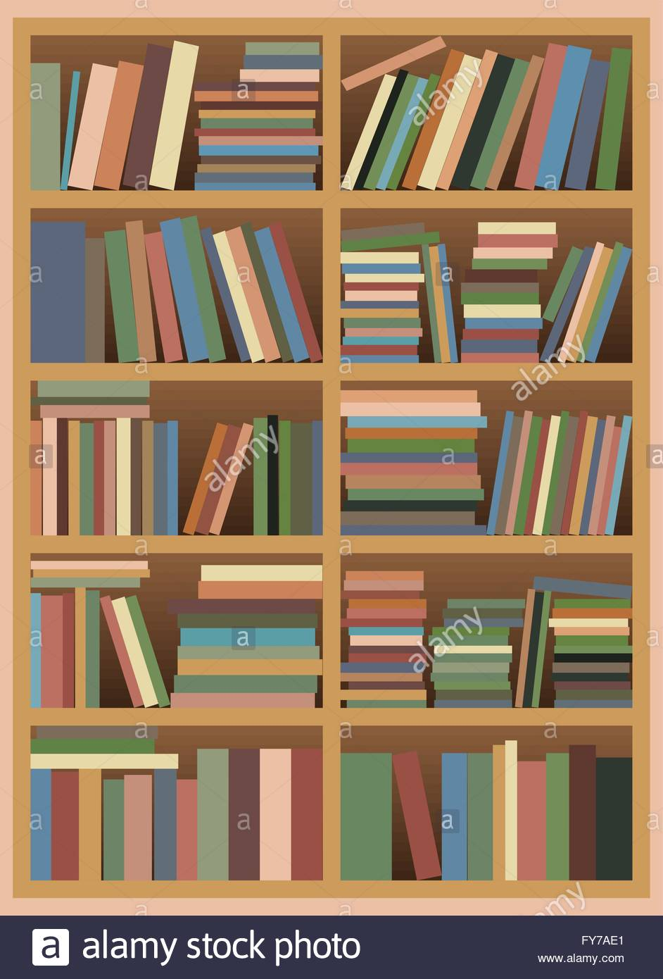 Vector illustration of a Untidy Bookshelf with Pastel Colored Books - Stock Image