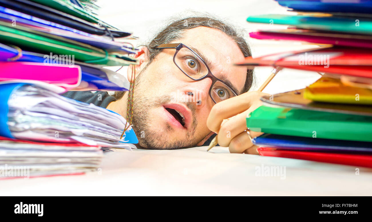 exhausted employed office - Stock Image
