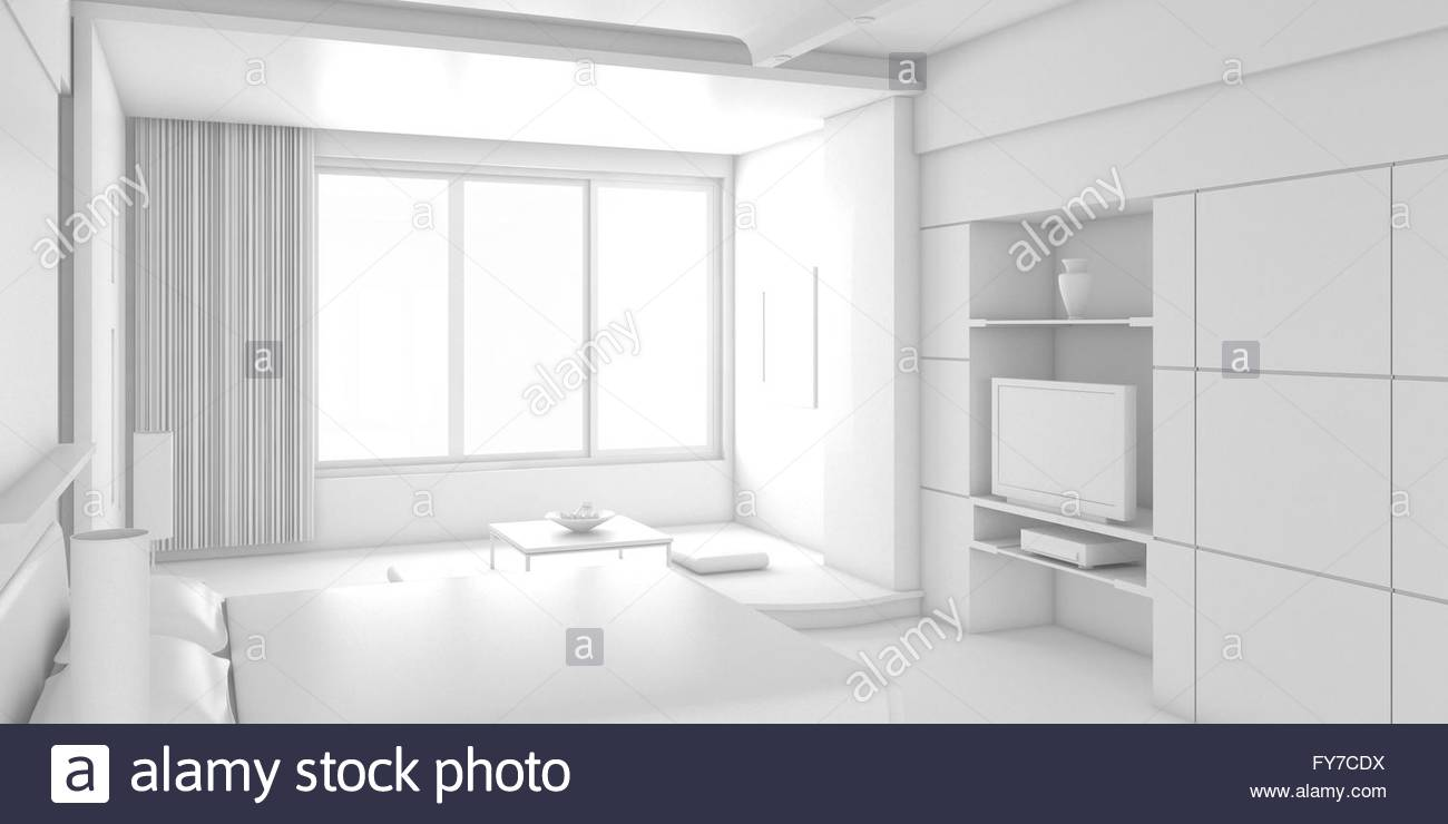 3d interior design blank room with white furniture Stock Photo ...