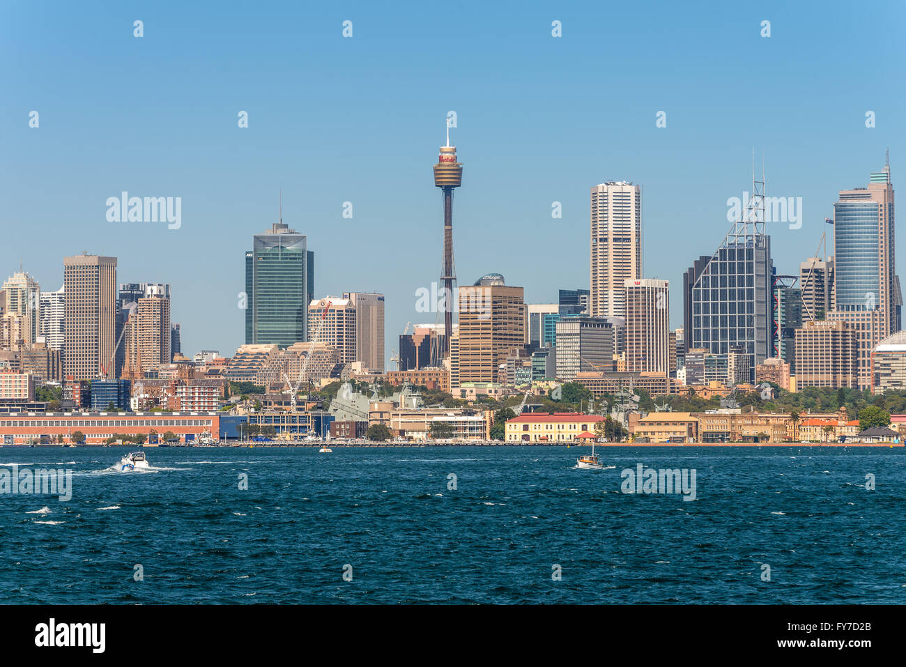 Australian Sydney landmark - city CBD high rises and towers forming megapolis cityscape - Stock Image