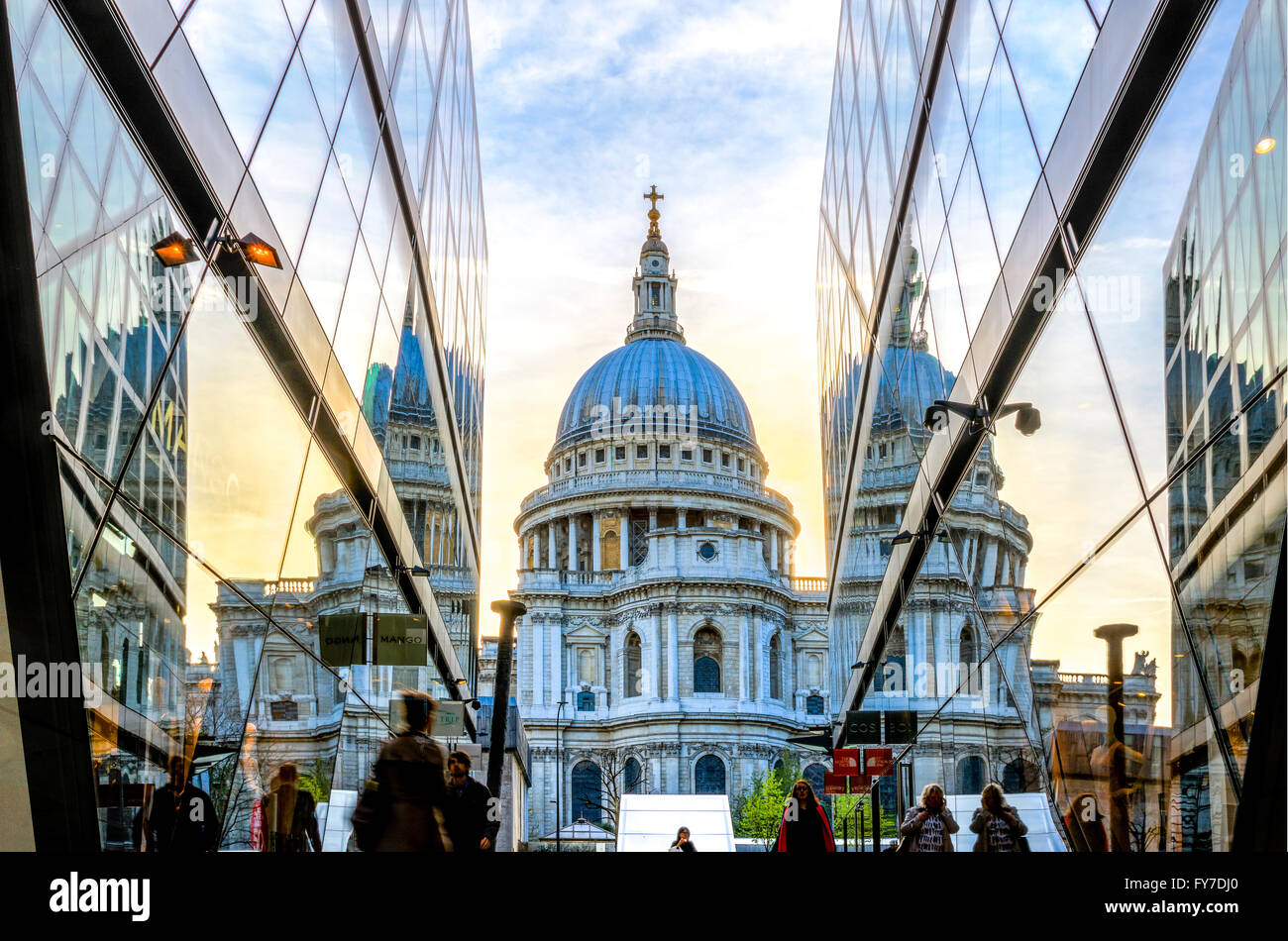 London, England - April 20, 2017 - View of St Paul's Cathedral from the One New Change building. - Stock Image