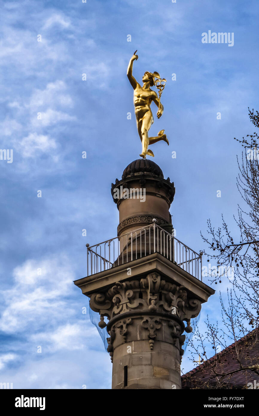 Statue of Roman God, Mercury on tower of Altes kanzlei Old Chancellery building, Stuttgart, Baden-Württemberg, - Stock Image