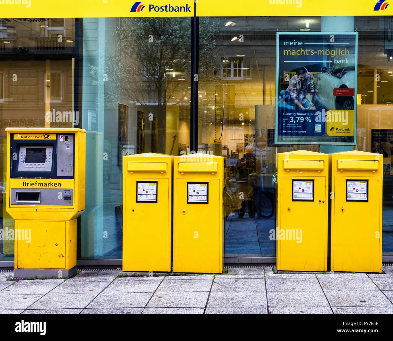 Stuttgart Postbank Post Office With Yellow Stamp Vending