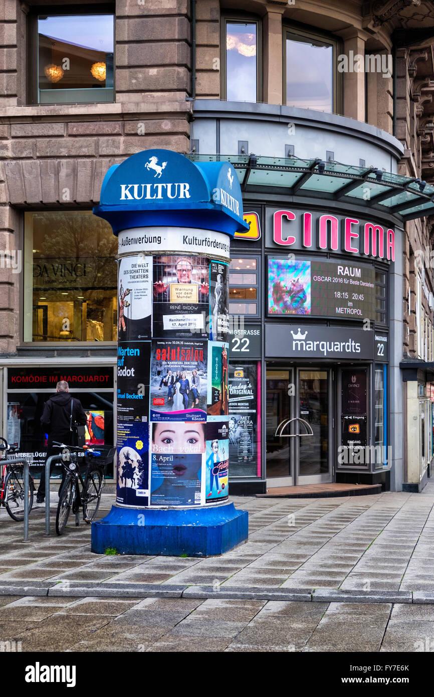 EM-Cinema-Gloria, EM Cinema Gloria, movie theatre entrance, Stuttgart, Baden-Württemberg, Germany - Stock Image