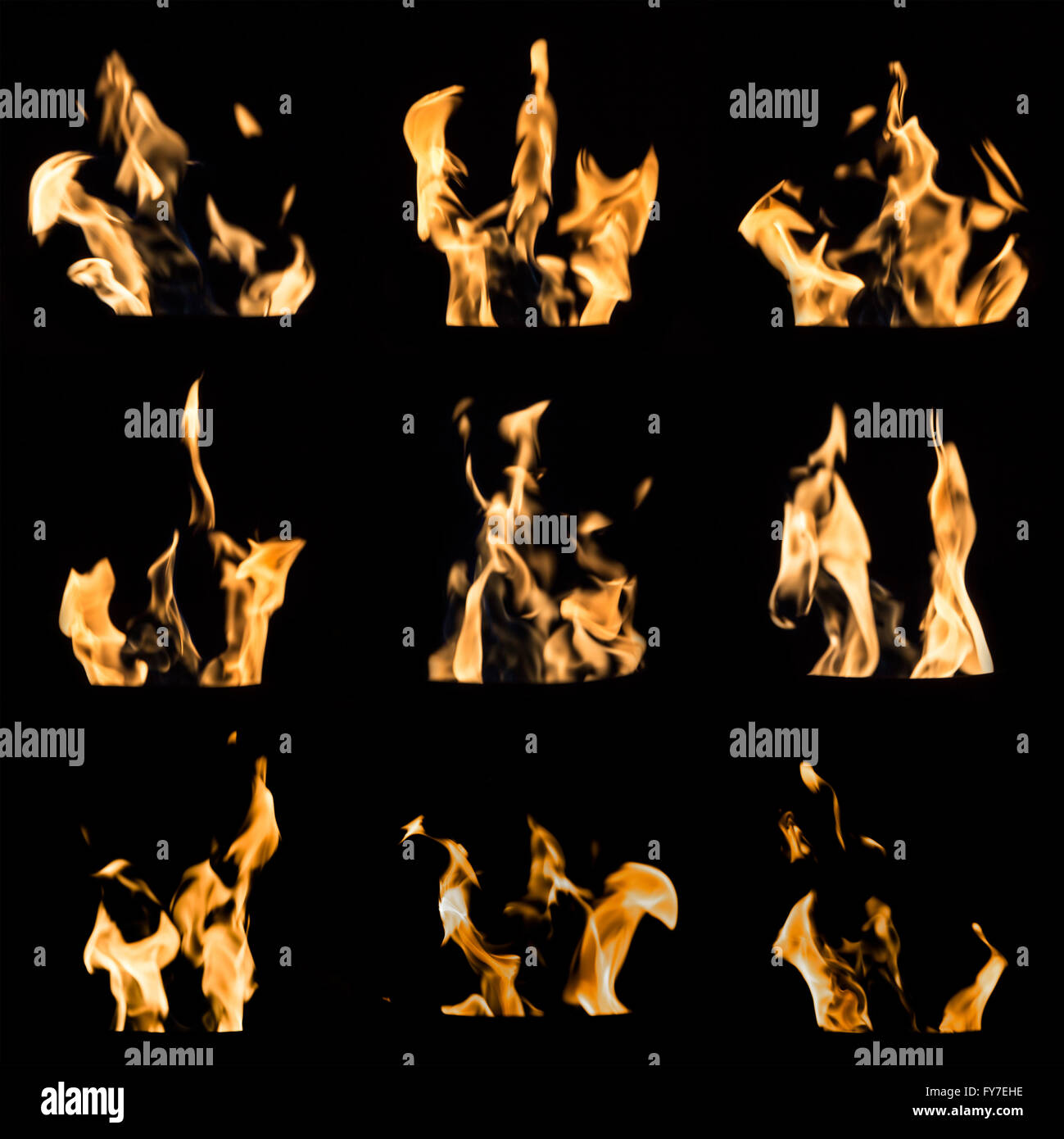 A collage of nine different emerging fire flames on a black background. Compilation image of colorful flames on - Stock Image