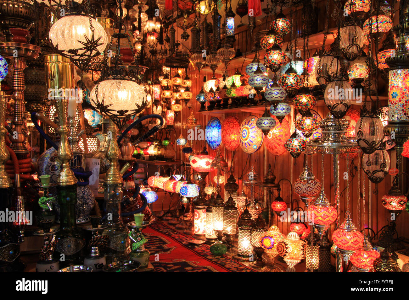 Turkish Lamps Shop In The Grand Bazaar, Istanbul   Stock Image
