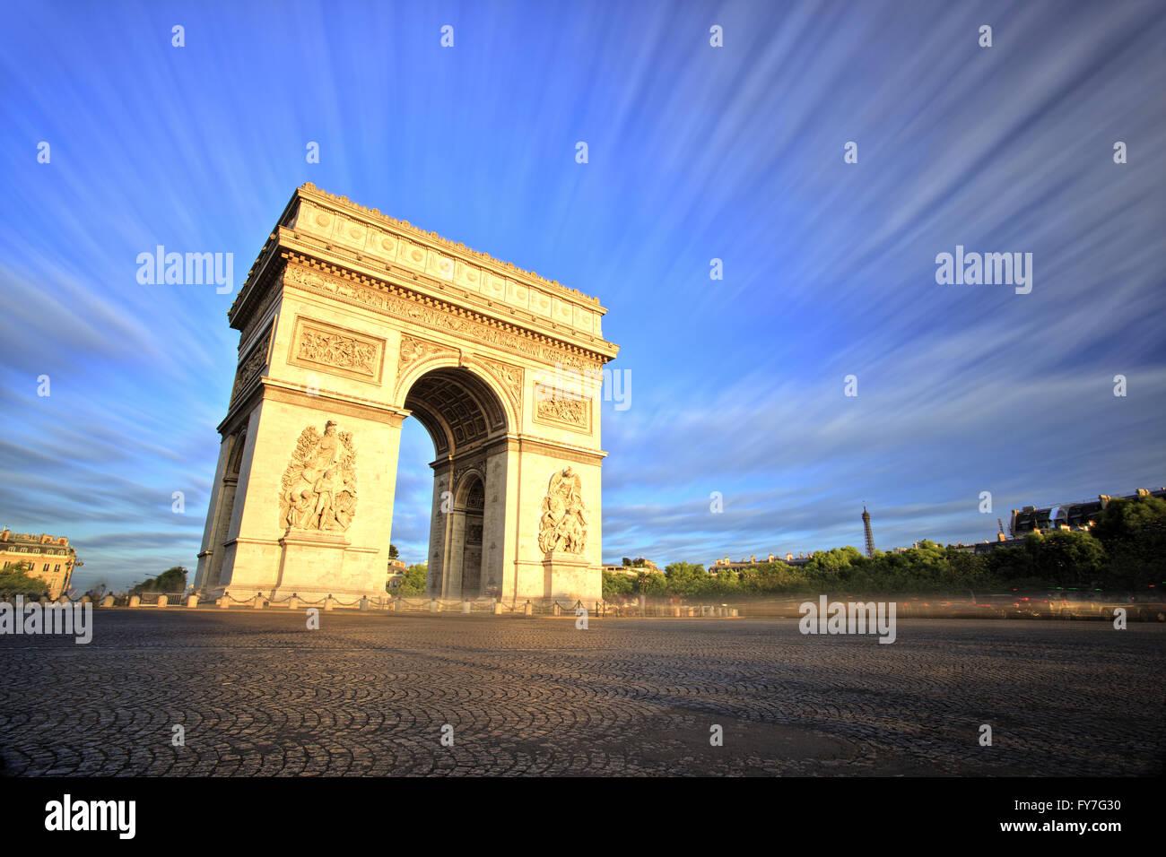 Arc de Triomphe at Sunset, Paris - Stock Image