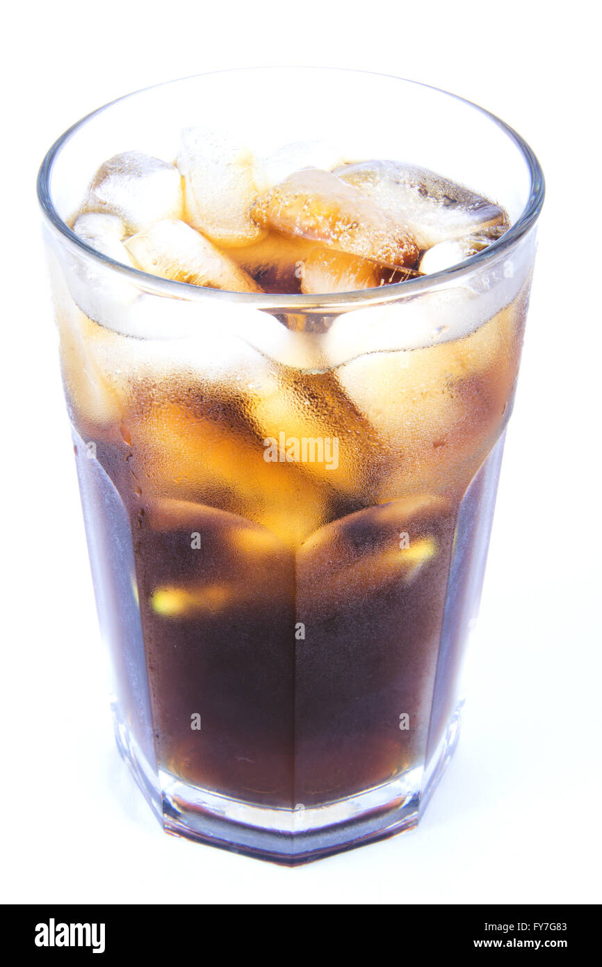 Keywords:  coke, cola, ice, drink, cuba, libre, cocktail, glass, isolated, cold, lemon, white, background, alcoholic, - Stock Image