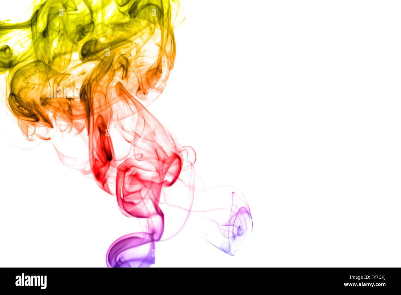 Rainbow smoke isolated on white background - Stock Image