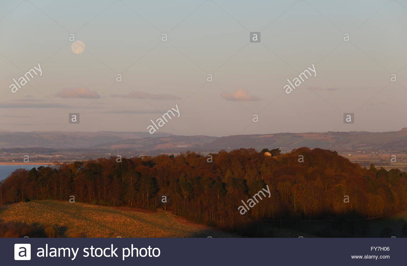 Full moon over Balgay Hill Dundee at dawn Scotland  April 2016 - Stock Image