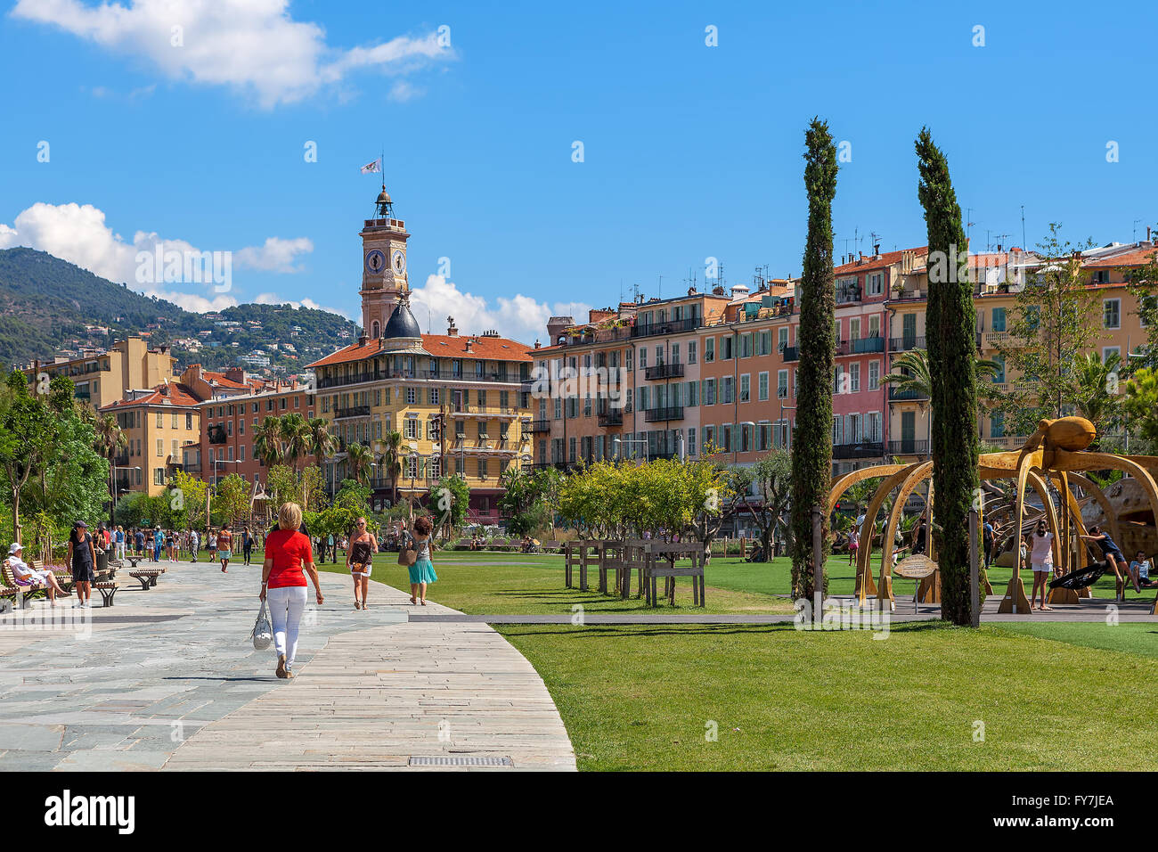People at Promenade du Paillon in Nice, France. Stock Photo