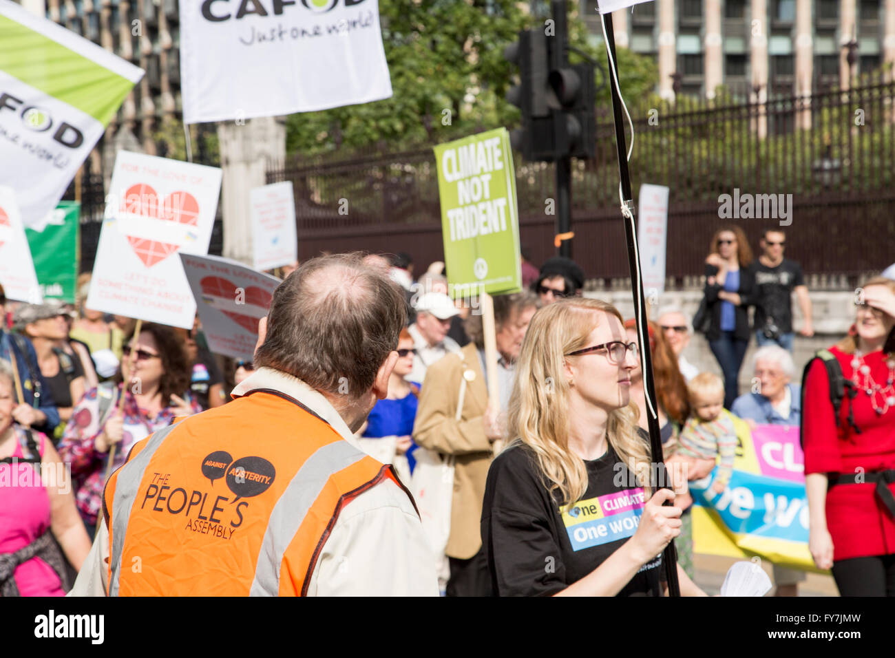 marchers in westminster - Stock Image