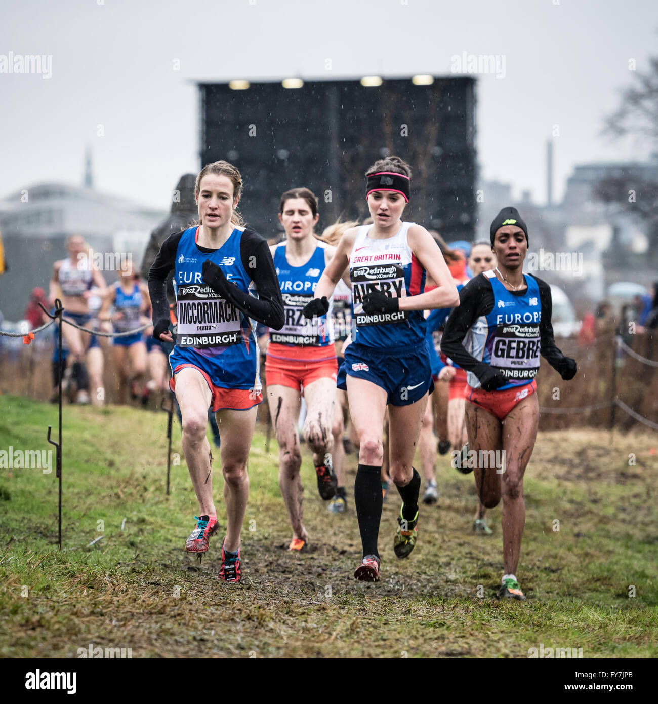 Kate Avery leads the Women's 6K at the Great Edinburgh XCountry. 9th January 2016. - Stock Image
