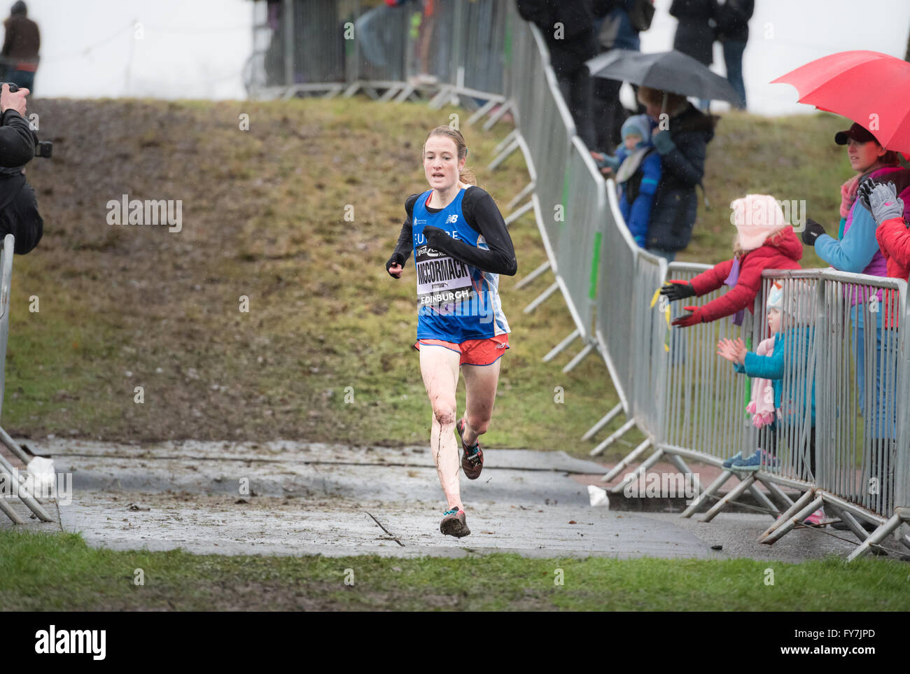 Fionnuala McCormack (nee Britton) competes in the Great Edinburgh XCountry Women's 6k. 9th January 2016. - Stock Image