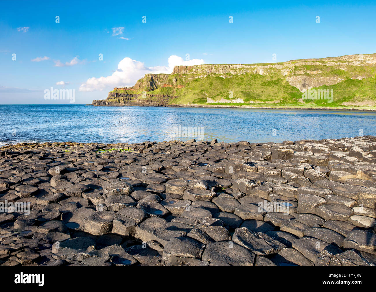 Giants Causeway, unique geological hexagonal formations of volcanic basalt rocks  and cliffs on Atlantic coast in - Stock Image