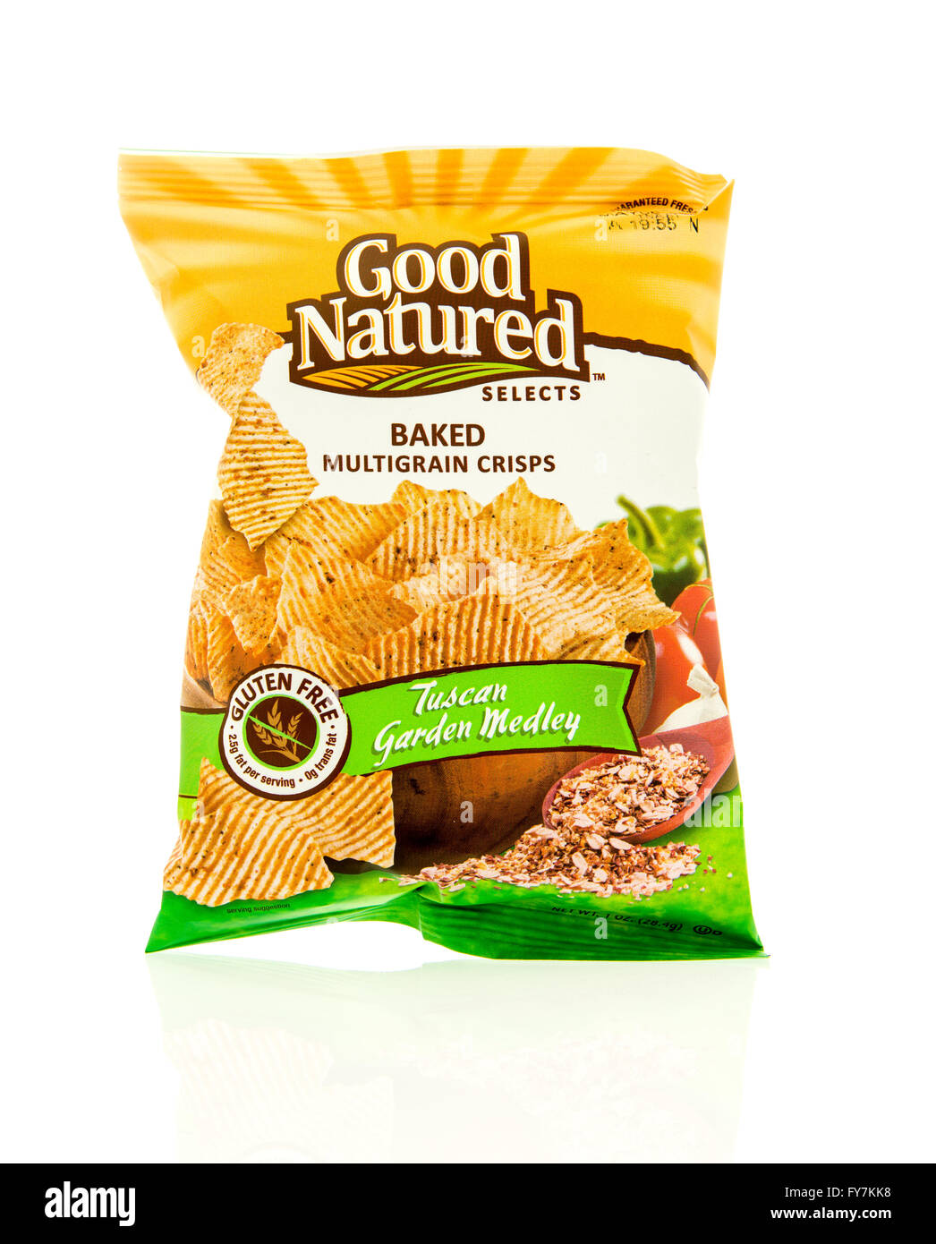 Winneconne, WI - 17 Feb 2016: Bag of Good Natured baked chips in tuscan garden medley flavor. - Stock Image