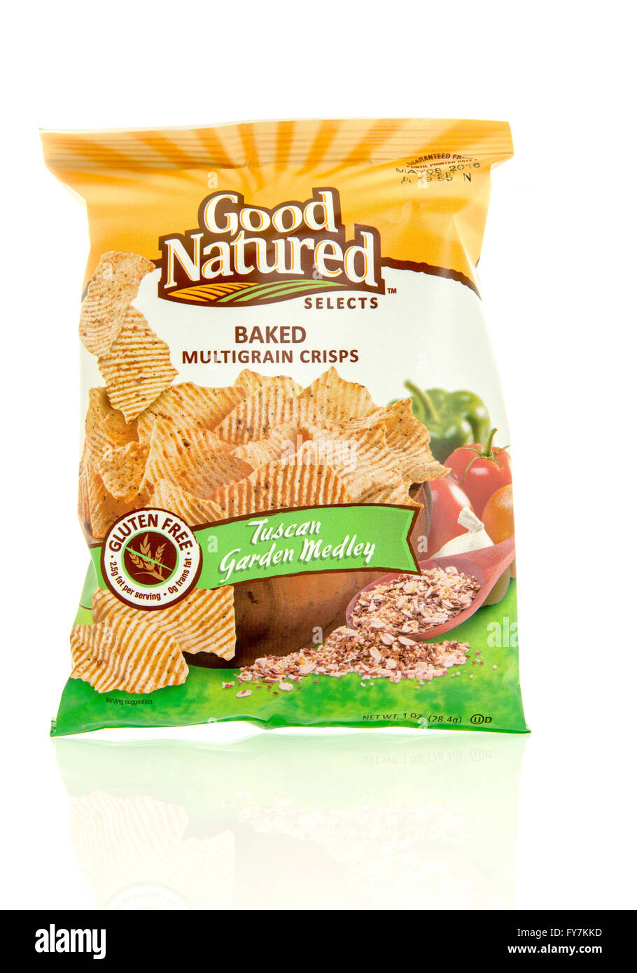 Winneconne, WI - 17 Feb 2016: Bag of Good Natured Selects baked  chips in tuscan garden medley flavor. - Stock Image