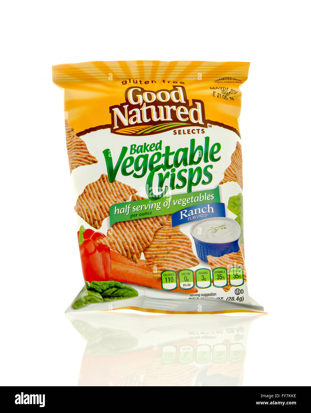 Winneconne, WI - 17 Feb 2016: Bag of Good Natured Selects baked vegetable chips in ranch flavor. - Stock Image
