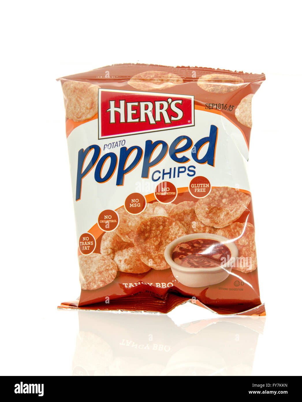 Winneconne, WI - 17 Feb 2016: Bag of Herr's potato popped chips in tangy BBQ flavor - Stock Image