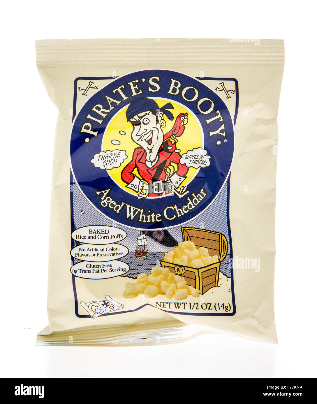 Winneconne, WI - 5 March 2016:  A bag of Pirate's Booty aged white cheddar rice and corn puffs - Stock Image