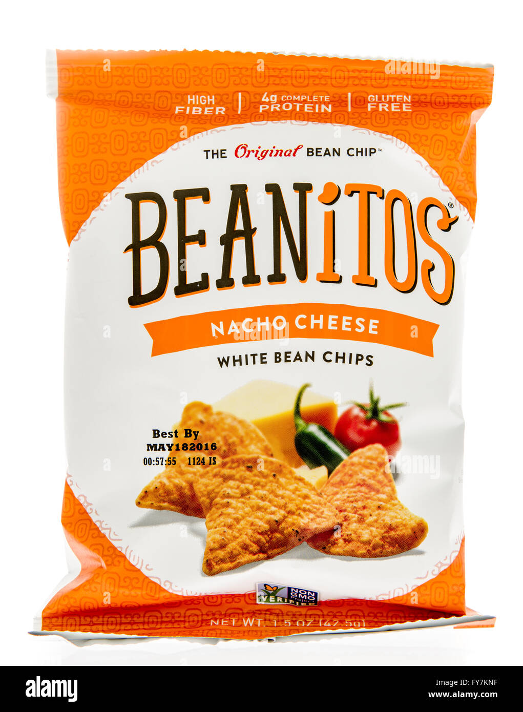 Winneconne, WI - 5 March 2016:  A bag of Beanitos white bean chips in nacho cheese flavor. - Stock Image