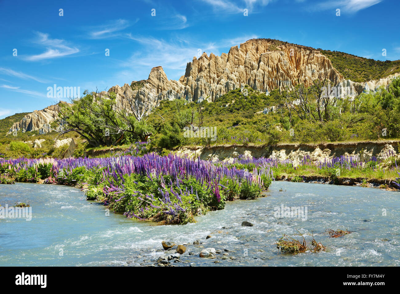 Clay Cliffs Scenic Reserve, New Zealand - Stock Image
