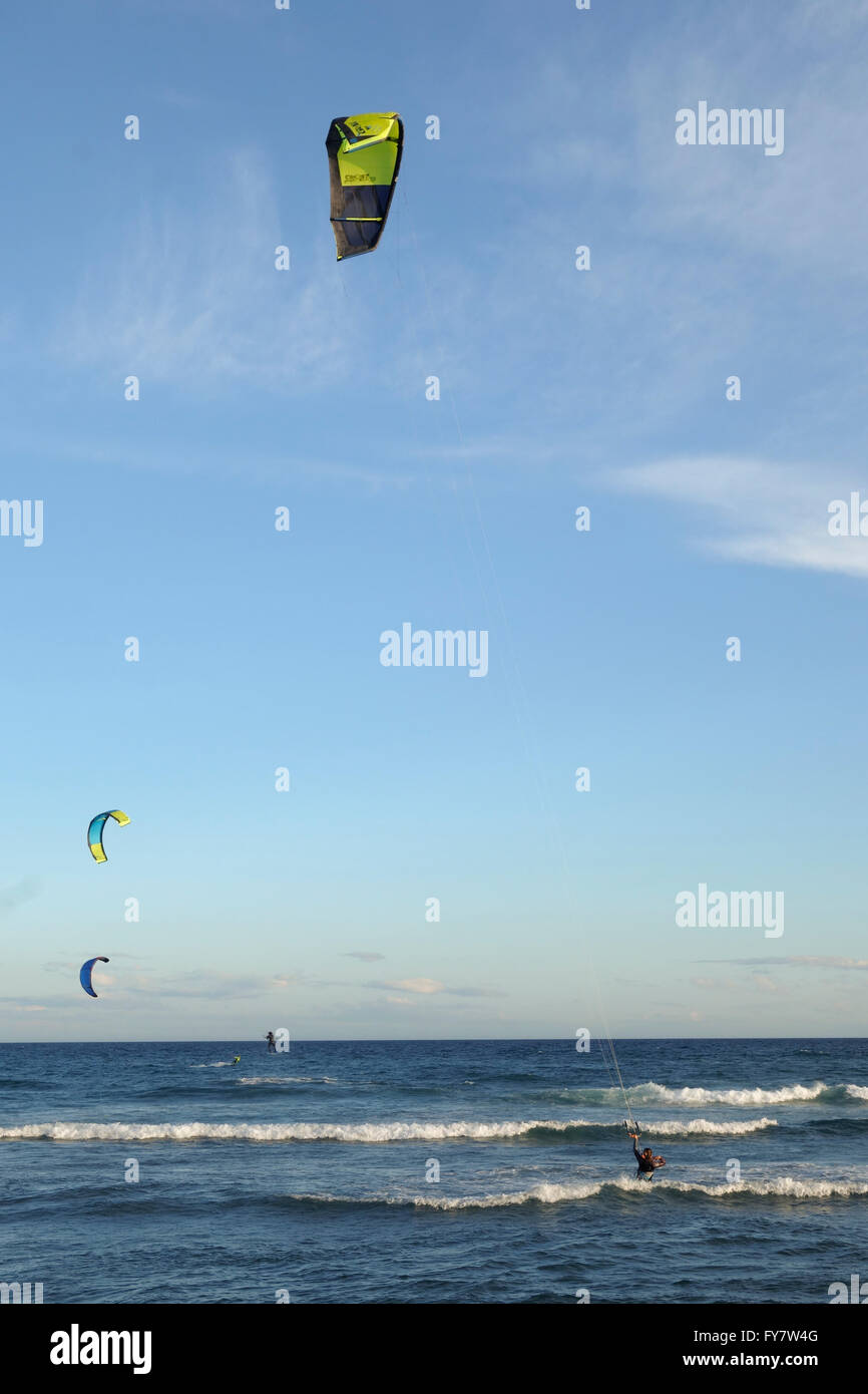Kitesurfers at mediterranean sea, Cabopino, Spain - Stock Image