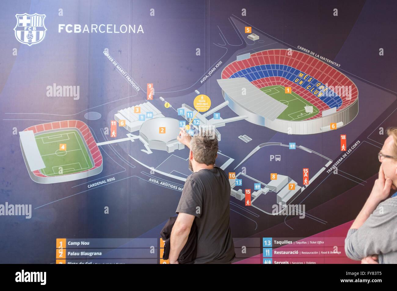 Camp Nou stadium complex map outside the stadium - Stock Image
