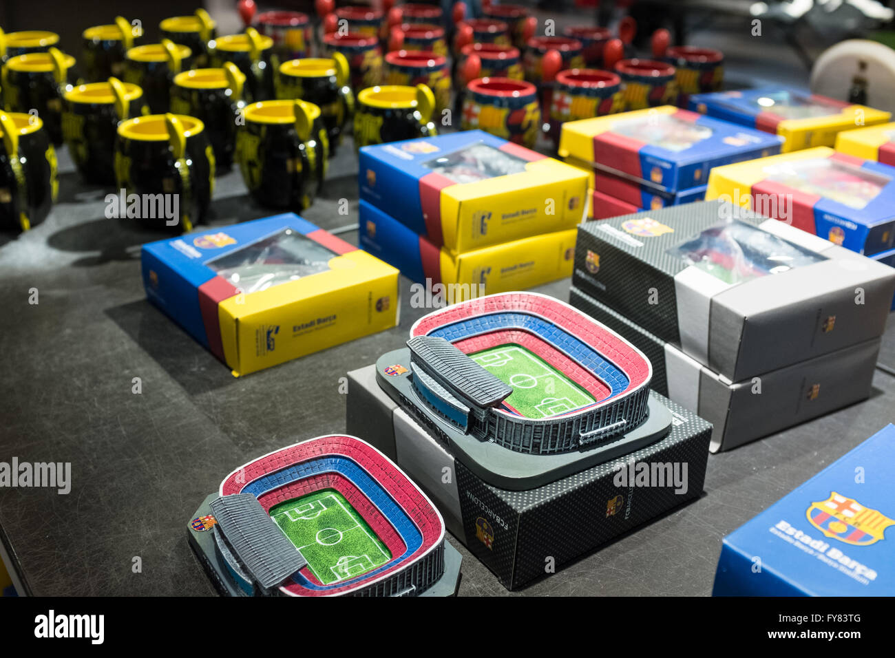 Replicas of Camp Nou in FC Barcelona boutique store - Stock Image
