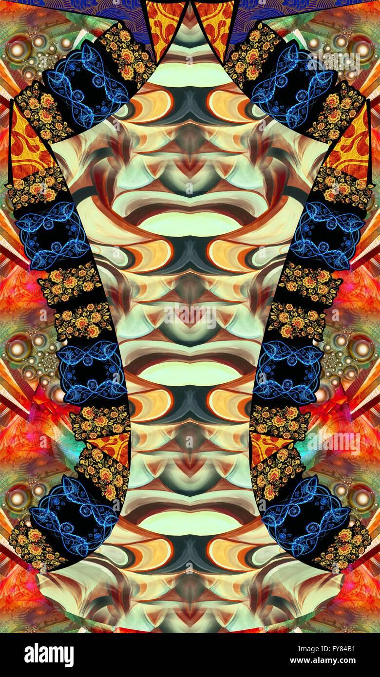 symmetrical allover design for dress. - Stock Image