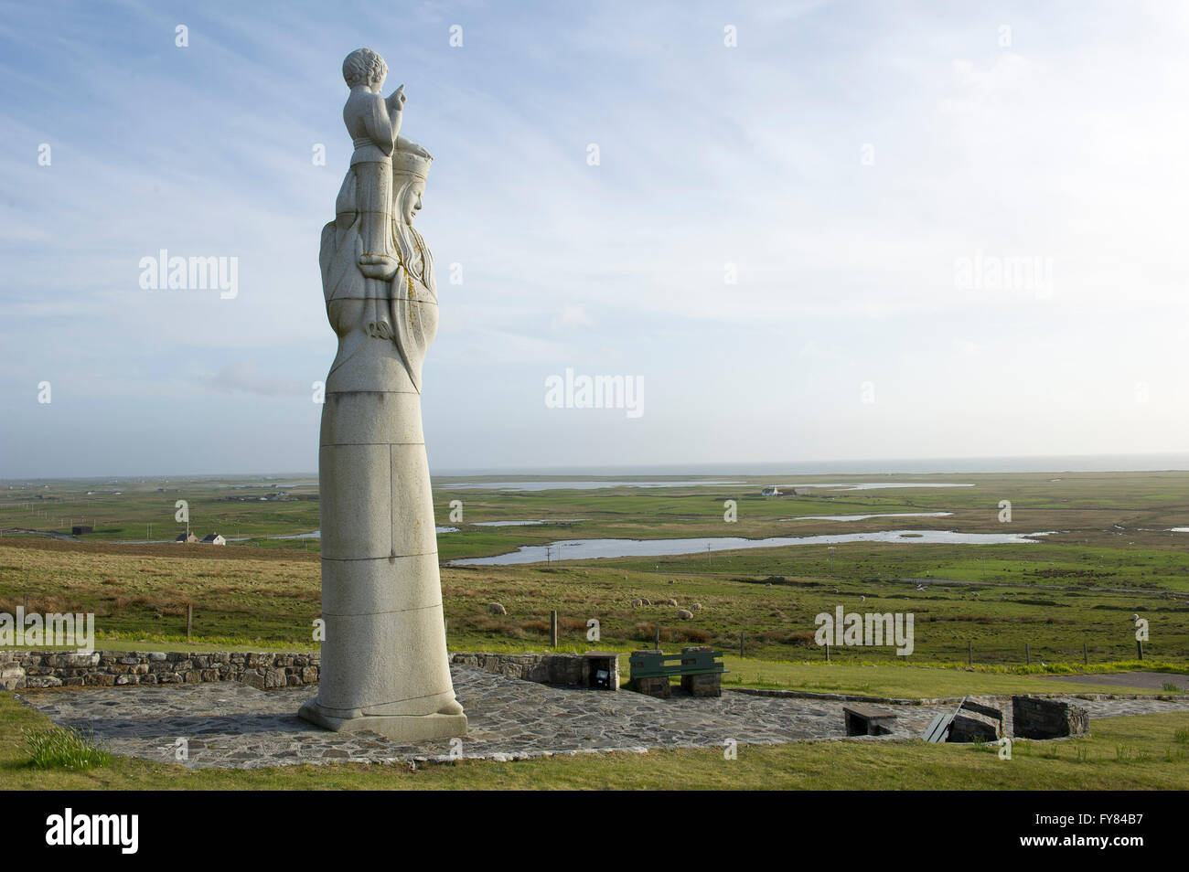 The statue of 'Our Lady of The Isles' by Hew Lorimer on the side of Rueval in South Uist, Outer Hebrides, - Stock Image