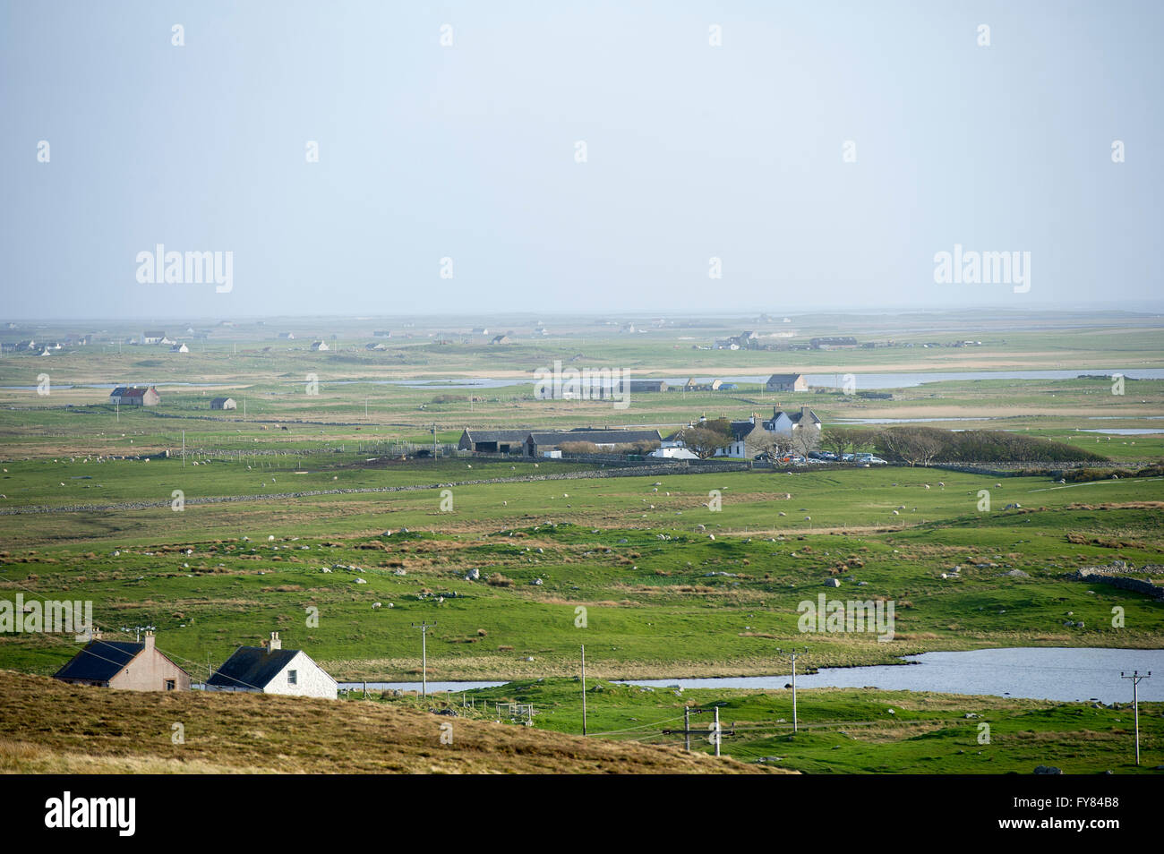 View from the western slope of Rueval, West Gerinish Isle of South Uist Outer Hebrides. - Stock Image