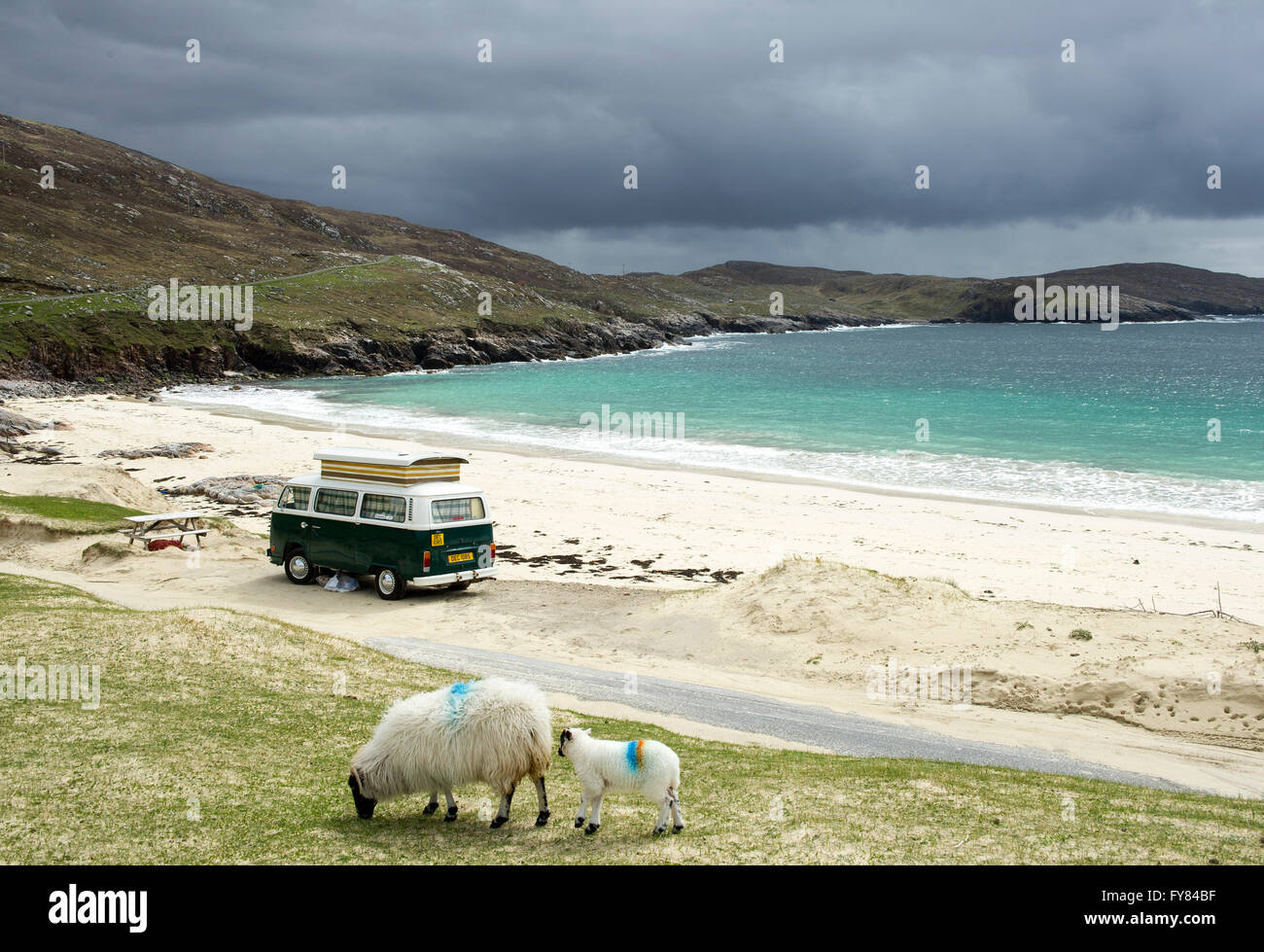 Huisinish beach Outer Hebrides. A VW Camper Van parked at Huisinish beach, Isle of Harris, Outer Hebrides Scotland - Stock Image