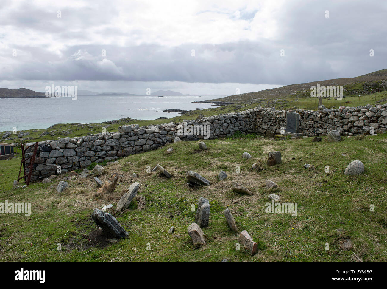 An old cemetery at  Huisinish, Isle of Harris, Outer Hebrides Scotland GB. - Stock Image