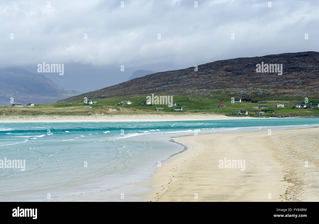 View of Luskentyre beach  from Seilebost, Isle of  Harris Scotland, UK. - Stock Image