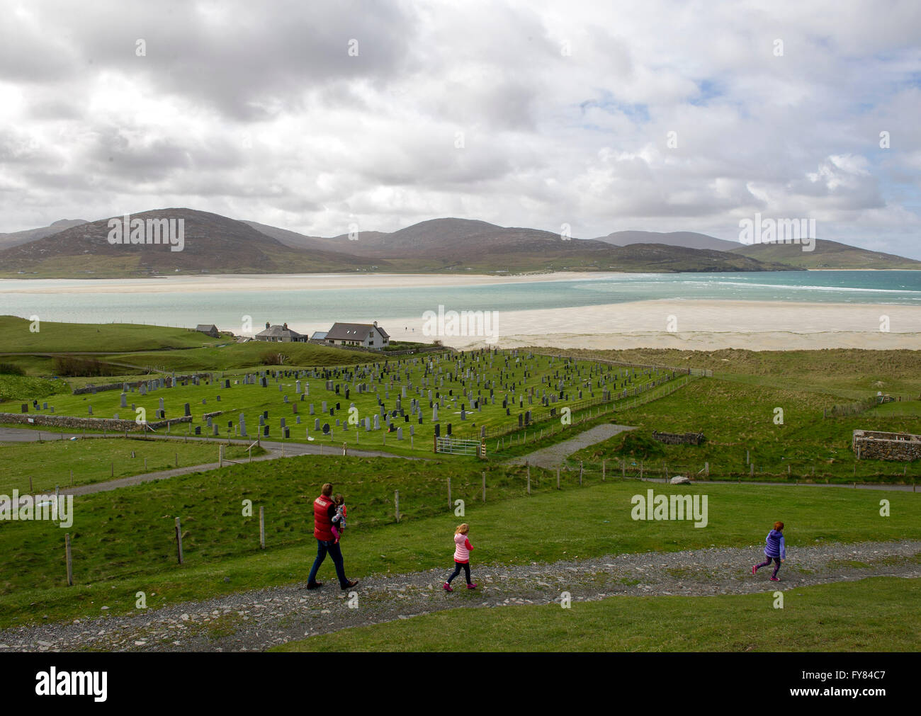 Luskentyre graveyard and Luskentyre beach with Seilebost in the distance,  Isle of  Harris Scotland, UK. - Stock Image