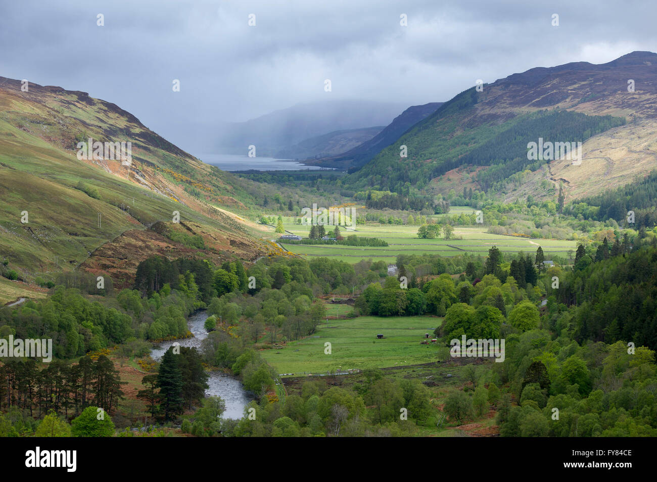 Strath More, west of the River Broom running through Strath More at the head of Loch Broom near the Braemore junction - Stock Image