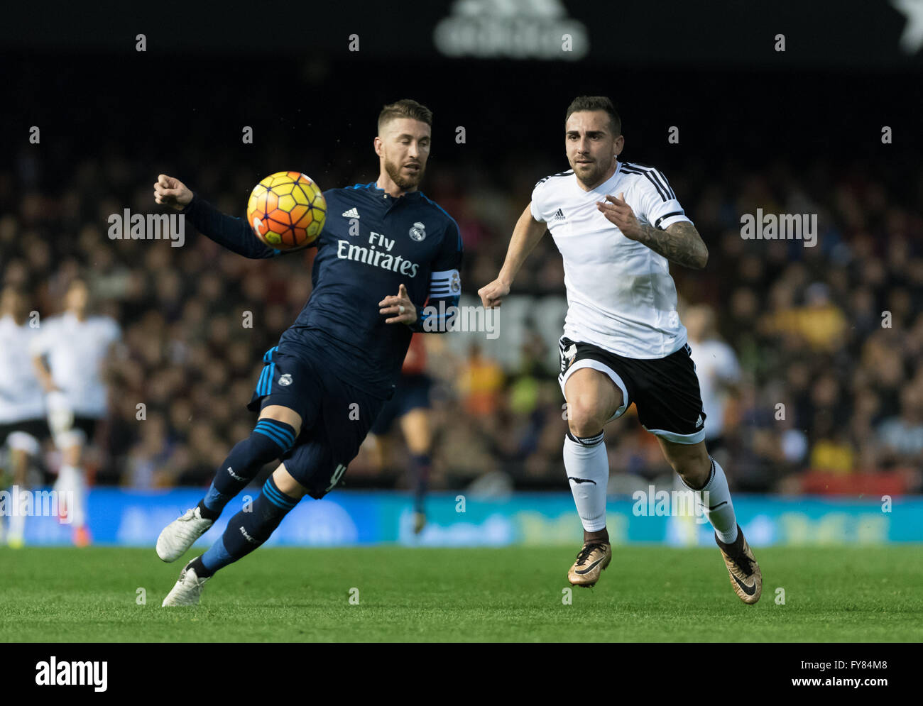 Paco Alcacer of Valencia CF and Sergio Ramos of Real Madrid CF fighting to the ball during the Liga BBVA match, - Stock Image