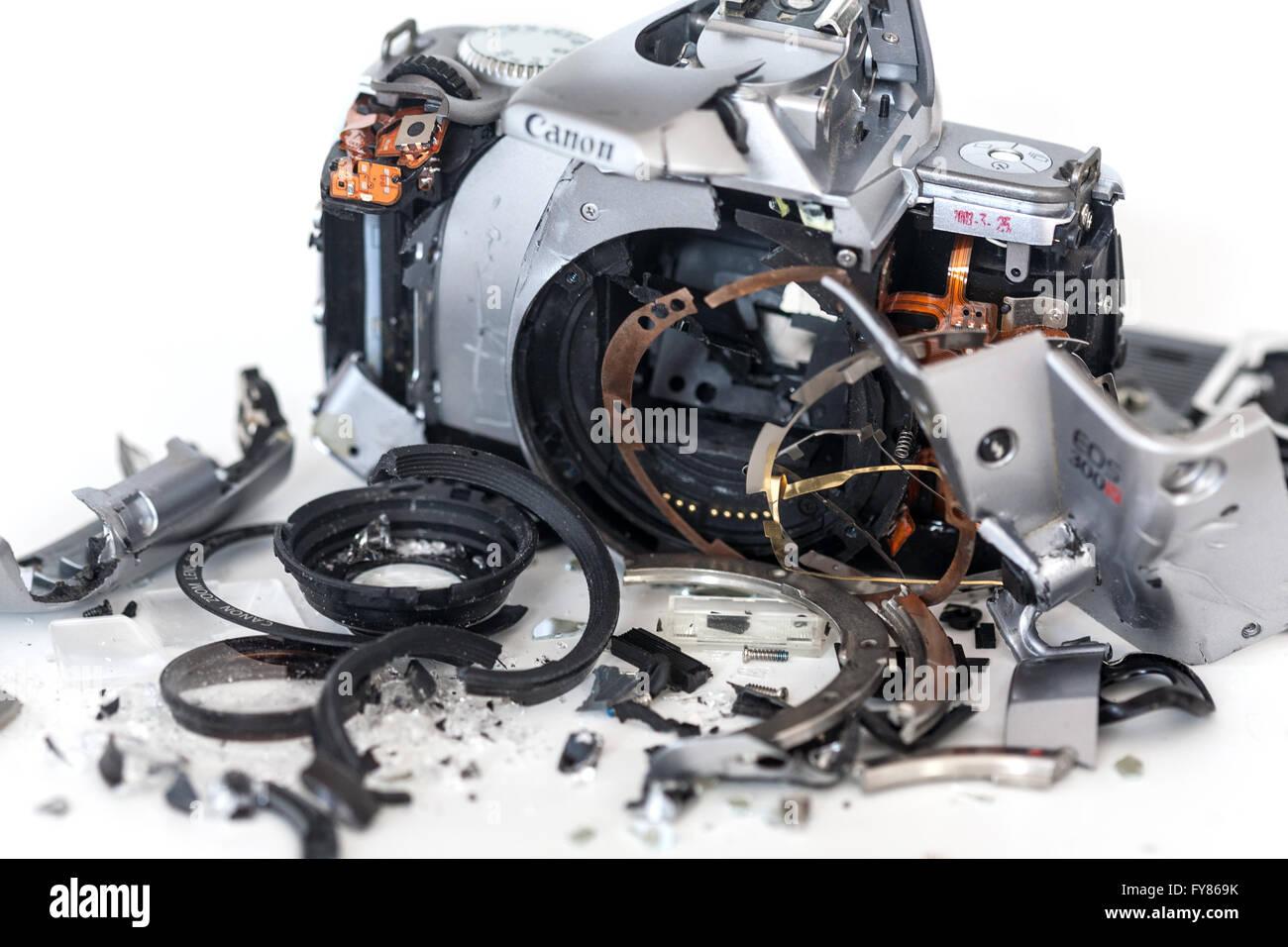Smashed, broken Camera - Stock Image