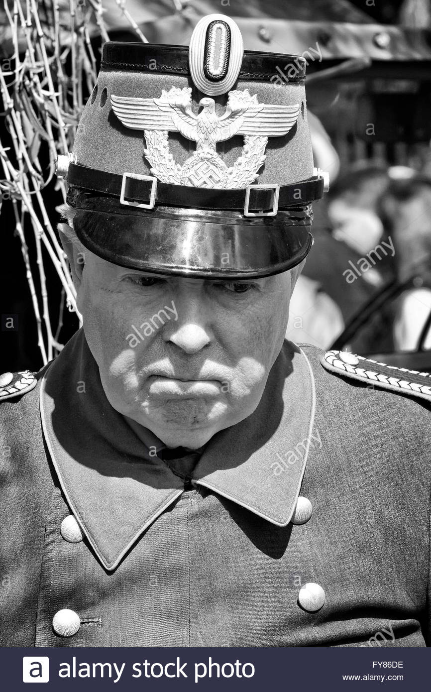 Re-enactor dressed as German Police Officer from Third Reich Period - Stock Image