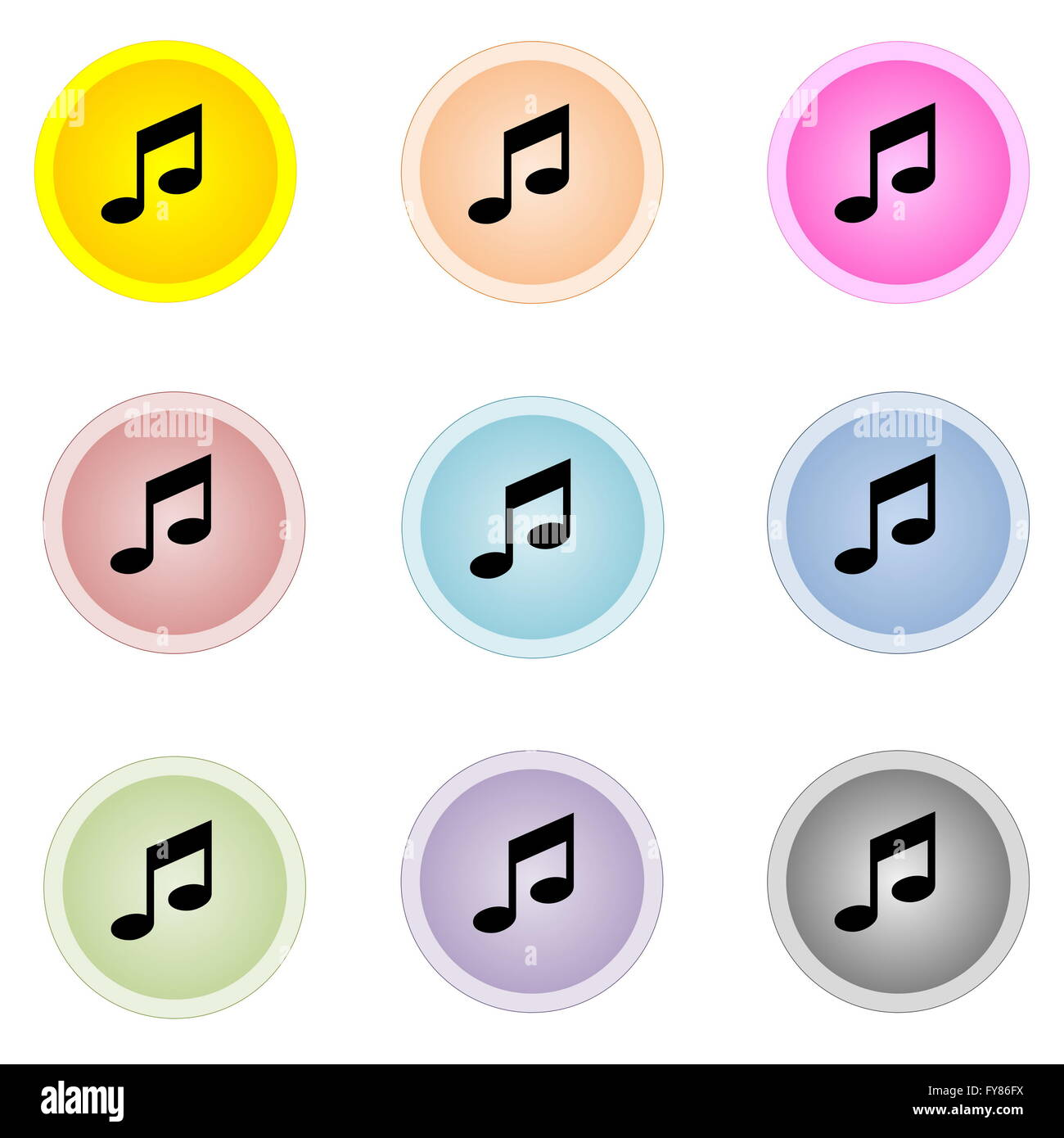 Set of nine colorful buttons with music notes isolated in white background - Stock Image